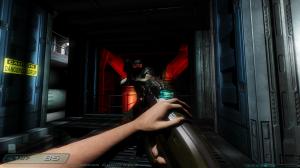 An screenshot of a first person shooter: Doom 3.