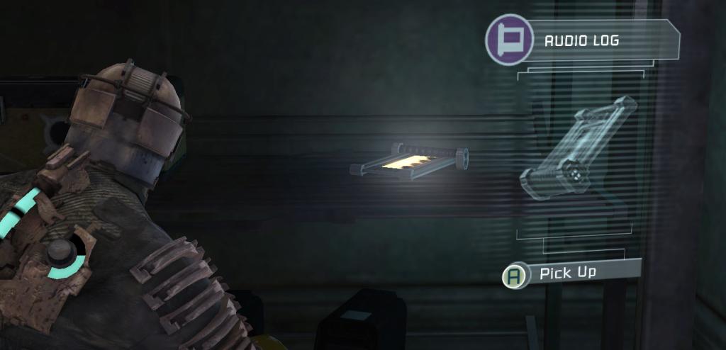 An audio log sitting on a shelf in Dead Space.